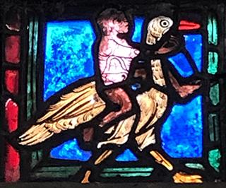 A cheval !  Vitrail de la cathédrale de Bourges